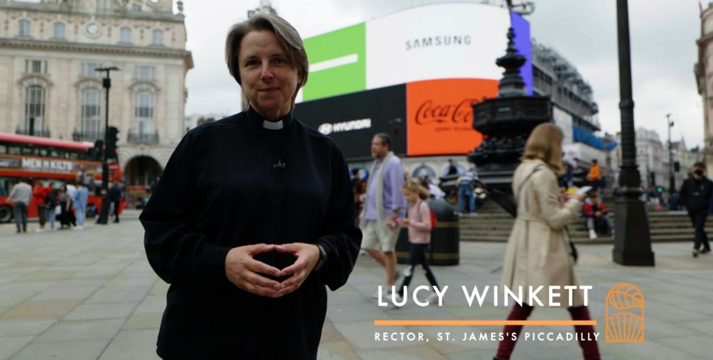 female priest at Piccadilly Circus